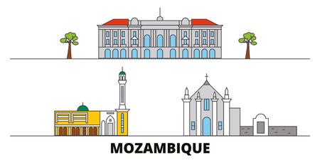 Mozambique flat landmarks vector illustration. Mozambique line city with famous travel sights, design skyline.