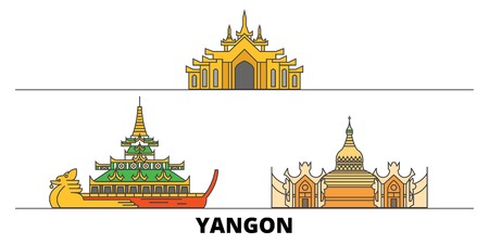 Myanmar, Yangon flat landmarks vector illustration. Myanmar, Yangon line city with famous travel sights, design skyline.