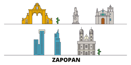 Mexico, Zapopan flat landmarks vector illustration. Mexico, Zapopan line city with famous travel sights, design skyline.