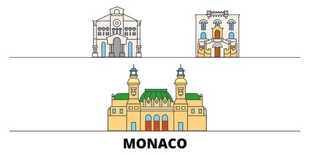 Monaco flat landmarks vector illustration. Monaco line city with famous travel sights, design skyline.