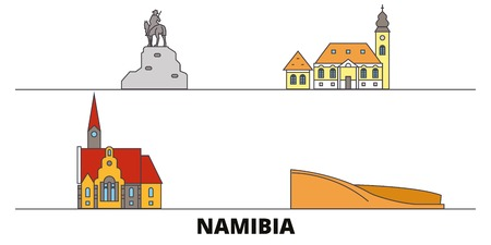 Namibia flat landmarks vector illustration. Namibia line city with famous travel sights, design skyline. Иллюстрация