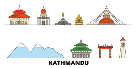 Nepal, Kathmandu flat landmarks vector illustration. Nepal, Kathmandu line city with famous travel sights, design skyline. Illustration