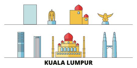 Malaysia, Kuala Lumpur flat landmarks vector illustration. Malaysia, Kuala Lumpur line city with famous travel sights, design skyline. Illustration