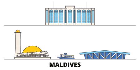 Maldives flat landmarks vector illustration. Maldives line city with famous travel sights, design skyline.