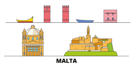 Malta flat landmarks vector illustration. Malta line city with famous travel sights, design skyline. 스톡 콘텐츠 - 120886865