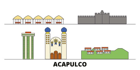 Mexico, Acapulco flat landmarks vector illustration. Mexico, Acapulco line city with famous travel sights, design skyline.