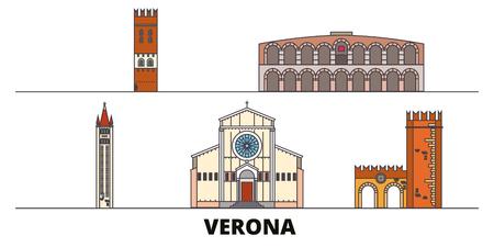 Italy, Verona flat landmarks vector illustration. Italy, Verona line city with famous travel sights, design skyline.