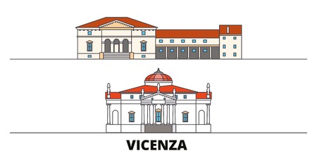 Italy, Vicenza flat landmarks vector illustration. Italy, Vicenza line city with famous travel sights, design skyline.
