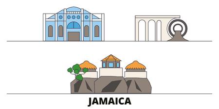 Jamaica flat landmarks vector illustration. Jamaica line city with famous travel sights, design skyline.
