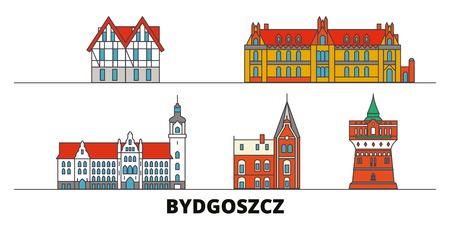 Poland, Bydgoszcz flat landmarks vector illustration. Poland, Bydgoszcz line city with famous travel sights, design skyline. Ilustrace