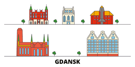 Poland, Gdansk flat landmarks vector illustration. Poland, Gdansk line city with famous travel sights, design skyline.