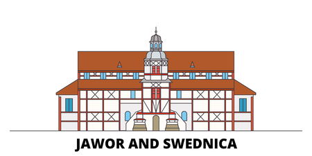 Poland, Jawor And Swidnica, Churches Of Peace flat landmarks vector illustration. Poland, Jawor And Swidnica, Churches Of Peace line city with famous travel sights, design skyline.