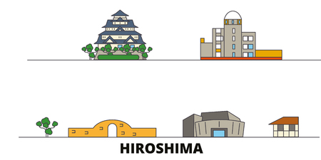 Japan, Hiroshima flat landmarks vector illustration. Japan, Hiroshima line city with famous travel sights, design skyline.