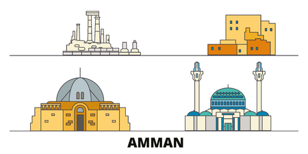 Jordan, Amman flat landmarks vector illustration. Jordan, Amman line city with famous travel sights, design skyline.