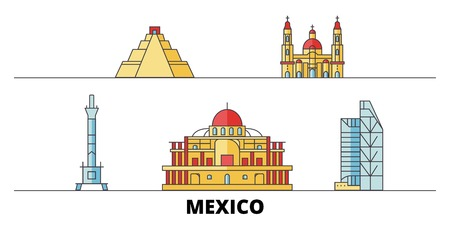 Mexico, Mexico City flat landmarks vector illustration. Mexico, Mexico City line city with famous travel sights, design skyline.