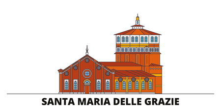 Italy, Santa Maria Delle Grazie flat landmarks vector illustration. Italy, Santa Maria Delle Grazie line city with famous travel sights, design skyline.