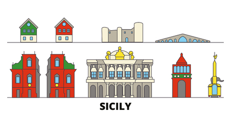 Italy, Sicily flat landmarks vector illustration. Italy, Sicily line city with famous travel sights, design skyline.