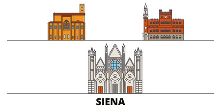 Italy, Siena flat landmarks vector illustration. Italy, Siena line city with famous travel sights, design skyline.
