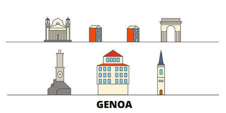 Italy, Genoa flat landmarks vector illustration. Italy, Genoa line city with famous travel sights, design skyline.