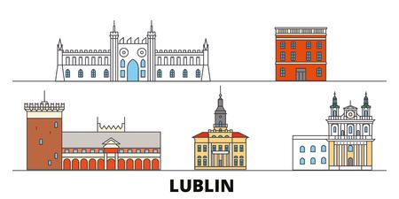 Poland, Lublin flat landmarks vector illustration. Poland, Lublin line city with famous travel sights, design skyline.