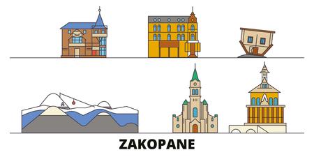 Poland, Zakopane flat landmarks vector illustration. Poland, Zakopane line city with famous travel sights, design skyline.