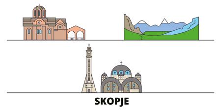 Macedonia, Skopje flat landmarks vector illustration. Macedonia, Skopje line city with famous travel sights, design skyline. Stockfoto - 120887594