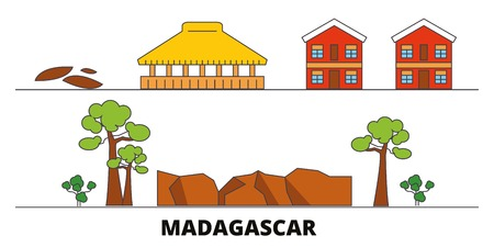 Madagascar flat landmarks vector illustration. Madagascar line city with famous travel sights, design skyline.