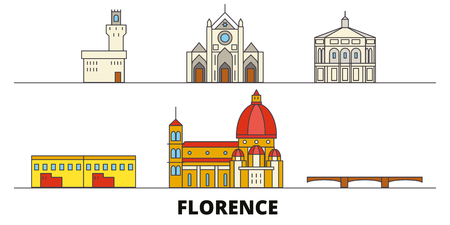 Italy, Florence flat landmarks vector illustration. Italy, Florence line city with famous travel sights, design skyline.