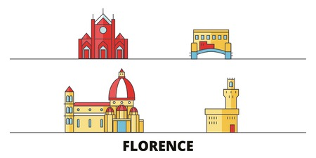 Italy, Florence City flat landmarks vector illustration. Italy, Florence City line city with famous travel sights, design skyline. 일러스트