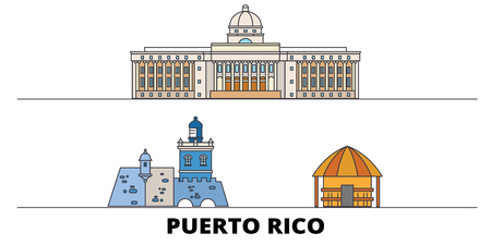 Puerto Rico flat landmarks vector illustration. Puerto Rico line city with famous travel sights, design skyline.