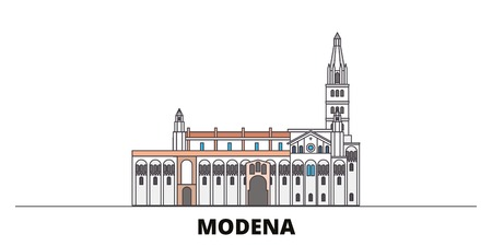 Italy, Modena flat landmarks vector illustration. Italy, Modena line city with famous travel sights, design skyline. Illustration