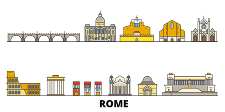 Italy, Rome flat landmarks vector illustration. Italy, Rome line city with famous travel sights, design skyline. Illustration