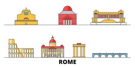 Italy, Rome City flat landmarks vector illustration. Italy, Rome City line city with famous travel sights, design skyline. Archivio Fotografico - 120887624
