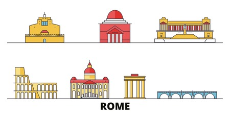 Italy, Rome City flat landmarks vector illustration. Italy, Rome City line city with famous travel sights, design skyline.