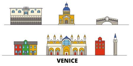 Italia, Venecia ilustración vectorial planos de monumentos. Italia, ciudad de Venecia con famosos lugares turísticos, horizonte de diseño. Ilustración de vector