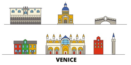 Italy, Venice flat landmarks vector illustration. Italy, Venice line city with famous travel sights, design skyline.  イラスト・ベクター素材