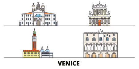 Italy, Venice Landmark flat landmarks vector illustration. Italy, Venice Landmark line city with famous travel sights, design skyline.