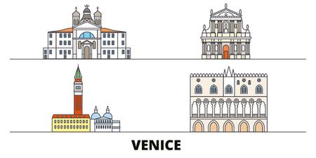 Italy, Venice Landmark flat landmarks vector illustration. Italy, Venice Landmark line city with famous travel sights, design skyline.