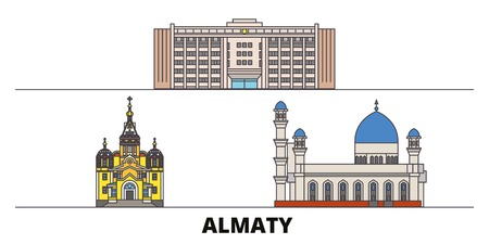 Kazakhstan, Almaty flat landmarks vector illustration. Kazakhstan, Almaty line city with famous travel sights, design skyline. Ilustrace