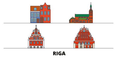 Latvia, Riga flat landmarks vector illustration. Latvia, Riga line city with famous travel sights, design skyline. Illustration