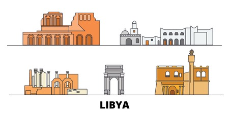 Libya flat landmarks vector illustration. Libya line city with famous travel sights, design skyline.