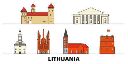 Lithuania flat landmarks vector illustration. Lithuania line city with famous travel sights, design skyline. Ilustração