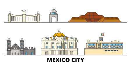Mexico, Mexico flat landmarks vector illustration. Mexico, Mexico line city with famous travel sights, design skyline. Vectores