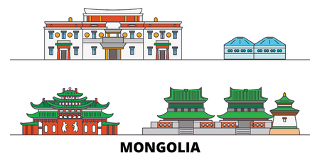 Mongolia flat landmarks vector illustration. Mongolia line city with famous travel sights, design skyline. Standard-Bild - 120887710