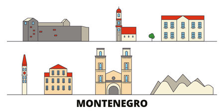 Montenegro flat landmarks vector illustration. Montenegro line city with famous travel sights, design skyline.