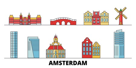 Netherlands, Amsterdam City flat landmarks vector illustration. Netherlands, Amsterdam City line city with famous travel sights, design skyline.