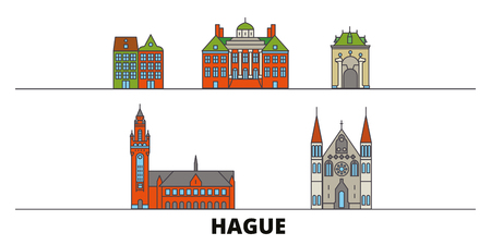 Netherlands, Hague flat landmarks vector illustration. Netherlands, Hague line city with famous travel sights, design skyline. Stock Illustratie