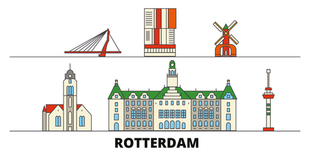 Netherlands, Rotterdam flat landmarks vector illustration. Netherlands, Rotterdam line city with famous travel sights, design skyline.