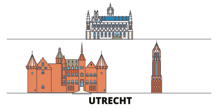 Netherlands, Utrecht flat landmarks vector illustration. Netherlands, Utrecht line city with famous travel sights, design skyline.