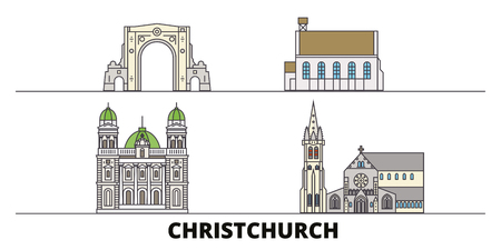 New Zealand, Christchurch flat landmarks vector illustration. New Zealand, Christchurch line city with famous travel sights, design skyline.  イラスト・ベクター素材